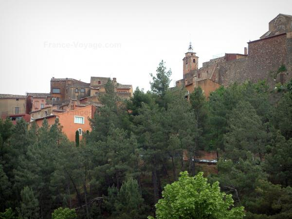 Roussillon - Trees and houses in the village