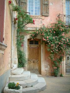 Roussillon - House with ochre colour decorated with rosebushes and flowers
