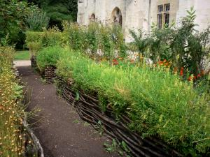 Royaumont abbey - Medieval-inspired garden (nine-square garden) and plants