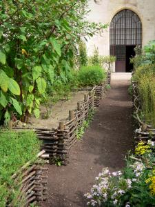Royaumont abbey - Medieval-inspired garden (nine-square garden) and its plants,; in the town of Asnières-sur-Oise; in the Oise-Pays de France Regional Nature Park