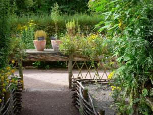 Royaumont abbey - Medieval-inspired garden (nine-square garden and knowledge table) and its plants,; in the town of Asnières-sur-Oise; in the Oise-Pays de France Regional Nature Park