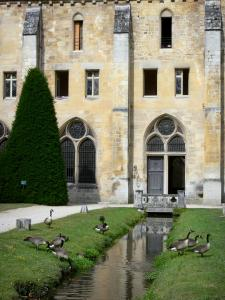 Royaumont abbey - Building of the monks (bâtiment des pères), canal and wild geese at the waterfront