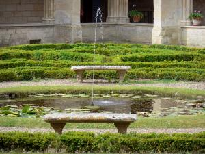Royaumont abbey - French-style formal garden of the cloister with its pond and benches