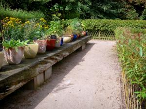 Royaumont abbey - Medieval-inspired garden and its knowledge table (potted plants)