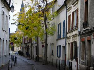 Rueil-Malmaison - Street, houses, trees and church bell tower in background