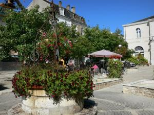 Ruffec - Armes square: flower-bedecked well, trees, café terrace and buildings, town hall