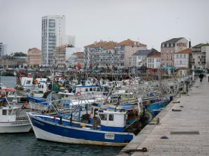 Les Sables-d'Olonne - Fishing port with its fishermen's boats moored to the quay, houses and buildings