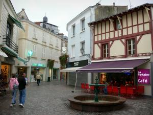 Les Sables-d'Olonne - Fountain, café terrace, shops and houses of the town centre