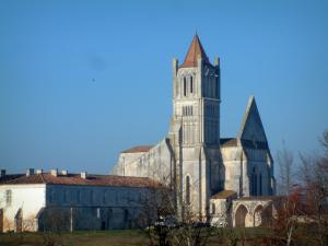 Sablonceaux abbey - Abbey church, building of the abbey and trees in Saintonge