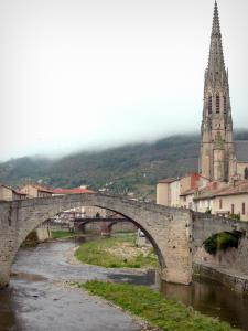 Saint-Affrique - Spire of the Notre-Dame church, houses of the old town and Pont vieux bridge spanning River Sorgue
