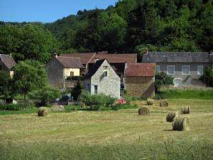Saint-Amand-de-Coly - Houses of the village, straw bales in a field and trees, in Black Périgord