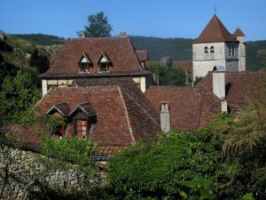 Saint-Cirq-Lapopie - Church bell tower and roofs of the village, in the Lot valley, in the Quercy