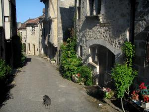 Saint-Cirq-Lapopie - Street and houses of the village, in the Lot valley, in the Quercy