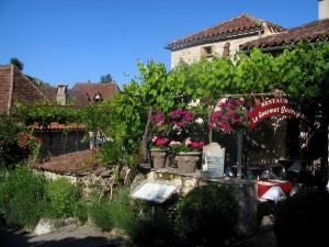 Saint-Cirq-Lapopie - Restaurant terrace, vineyards, flowers and houses of the village, in the Lot valley, in the Quercy