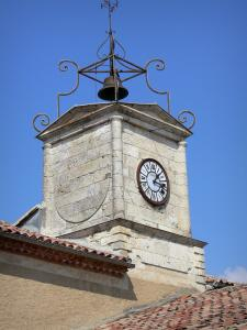 Saint-Clar - Steeple of the town hall with a clock