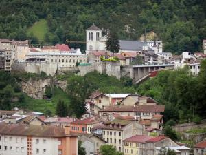 Saint-Claude - Saint-Pierre cathedral, Grand Pont bridge, houses and buildings of the city, trees; in the Upper Jura Regional Nature Park