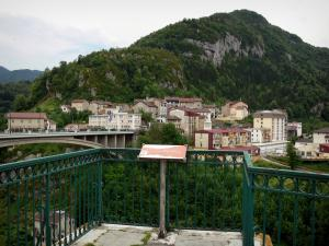 Saint-Claude - Viewpoint with view of the Grand Pont bridge, houses and buildings of the city, mountains; in the Upper Jura Regional Nature Park