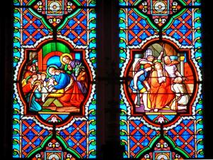 Saint-Claude - Inside of the Saint-Pierre cathedral: stained glass windows