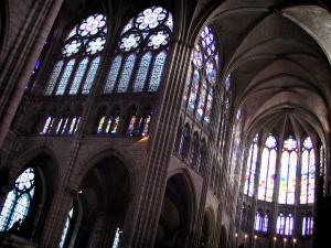 Saint-Denis basilica - Inside of the royal basilica (royal cemetery) with its stained glass windows
