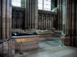 Saint-Denis basilica - Inside of the royal basilica (royal cemetery): tombs with funeral sculptures