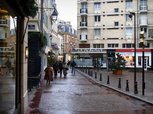 Saint-Germain-en-Laye - Shopping street of the city with its shops and its houses