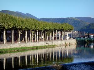 Saint-Girons - Trees of the Champ de Mars beside River Salat, Couserans hills in the background