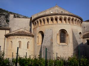Saint-Guilhem-le-Désert - Chevet of the abbey church (Gellone abbey) of Romanesque style