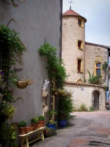 Saint-Haon-le-Châtel - Facade decorated with flowers and creepers, and house of cadran solaire in background