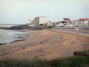 Saint-Hilaire-de-Riez - Sion-sur-l'Océan (seaside resort): high grass, sandy beach, cliffs, sea (Atlantic Ocean), buildings and houses