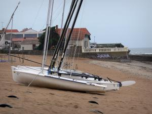 Saint-Hilaire-de-Riez - Sion-sur-l'Océan (seaside resort): catamarans on the sandy beach, houses