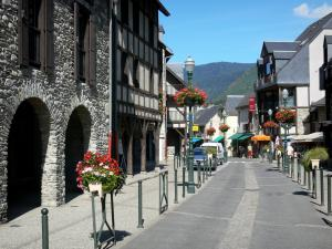 Saint-Lary-Soulan - Spa town and ski resort: street of the village lined with houses and lampposts with flowers ; in the Aure valley