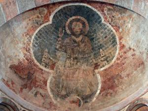 Saint-Lizier - Inside the Saint-Lizier cathedral: Romanesque painting (fresco) of the apse depicting the Christ in Majesty