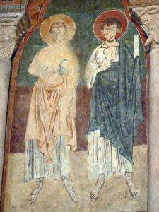 Saint-Lizier - Inside the Saint-Lizier cathedral: Romanesque painting (fresco) of the apse