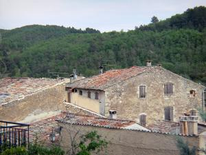 Saint-Martin-de-Brômes - Roofs of houses in the Provençal village and trees