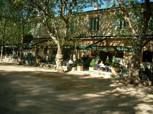 Saint-Paul-de-Vence - Square of the petanque game with its trees and its café terrace