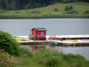 Saint-Point lake - Malbuisson lake (natural lake), water sports centre, red hut and shores