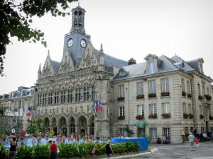 Saint-Quentin - Town Hall with its Flamboyant Gothic-style facade, and Place de l'Hôtel de Ville square turned into a beach during summer