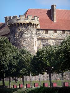 Saint-Saturnin - Castle and its crenellated tower, line of trees
