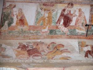 Saint-Savin abbey - Inside of the abbey church: Romanesque murals (frescoes)