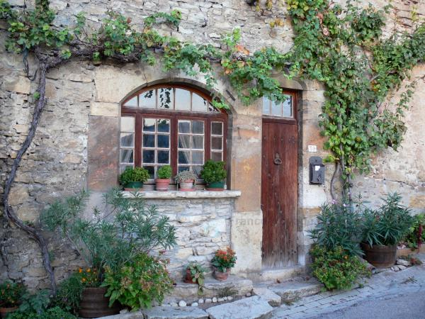 Saint-Sorlin-en-Bugey - Stone house with vines, plants and flowers; in Lower Bugey