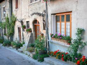 Saint-Sorlin-en-Bugey - Houses of the village with plants and flowers; in Lower Bugey