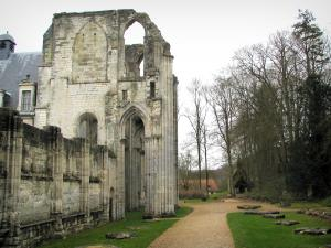 Saint-Wandrille abbey - Ruins of the abbey church, path and trees, in the Norman Seine River Meanders Regional Nature Park