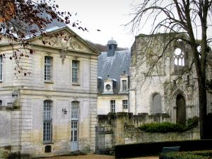 Saint-Wandrille abbey - Buildings and ruins of the abbey church, in the Norman Seine River Meanders Regional Nature Park