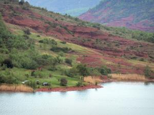 Salagou lake - Reservoir, shore, cliff red, trees and hills