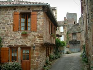Salles - Narrow street lined with stone houses and view of the keep of the village