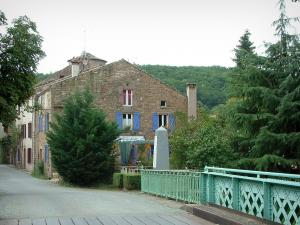 Salles - Bridge, trees, stone house and forest in background