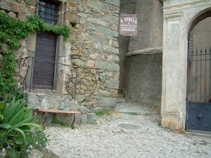Sant'Antonino - Paved narrow street, plants and stone house in the village (in the Balagne region)