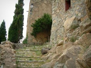 Sant'Antonino - Paved path, rock, trees and stone houses