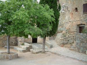 Sant'Antonino - Small square decorated with trees and stone house of the village (in the Balagne region)