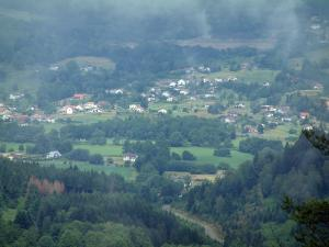 Saônoises vosges - Forests, trees, pastures and houses by mist weather (Ballons des Vosges Regional Nature Park)